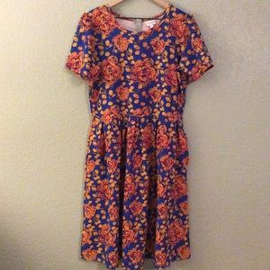 LuLaRoe Amelia Dress Orange & Navy Floral Print